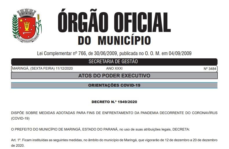 Decreto flexibiliza horário de funcionamento de atividades em Maringá