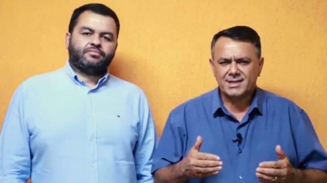 NA WEB. Gilmar e seu candidato a vice-prefeito, Doutor Marcondes, em vídeo em que dá sua versão do problema com a Justiça – Reprodução