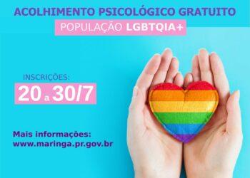 Inscrições para o acolhimento psicológico LGBTQIA+ encerram na sexta, 30