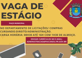 Prefeitura de Paiçandu disponibiliza vaga de estágio no Departamento de Licitações