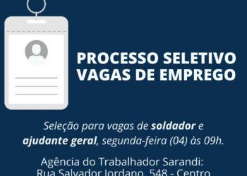 Agência do Trabalhador de Sarandi abre processo seletivo para empresa metalmecânica